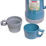 Термос 1000мл пластиковый со стеклянной колбой (2 чашки; синий, голубой, зелёный), фото 10