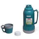 Термос 1800мл пластиковий зі скляною колбою (синій, блакитний, зелений), фото 3