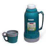 Термос 1800мл пластиковий зі скляною колбою (синій, блакитний, зелений), фото 4