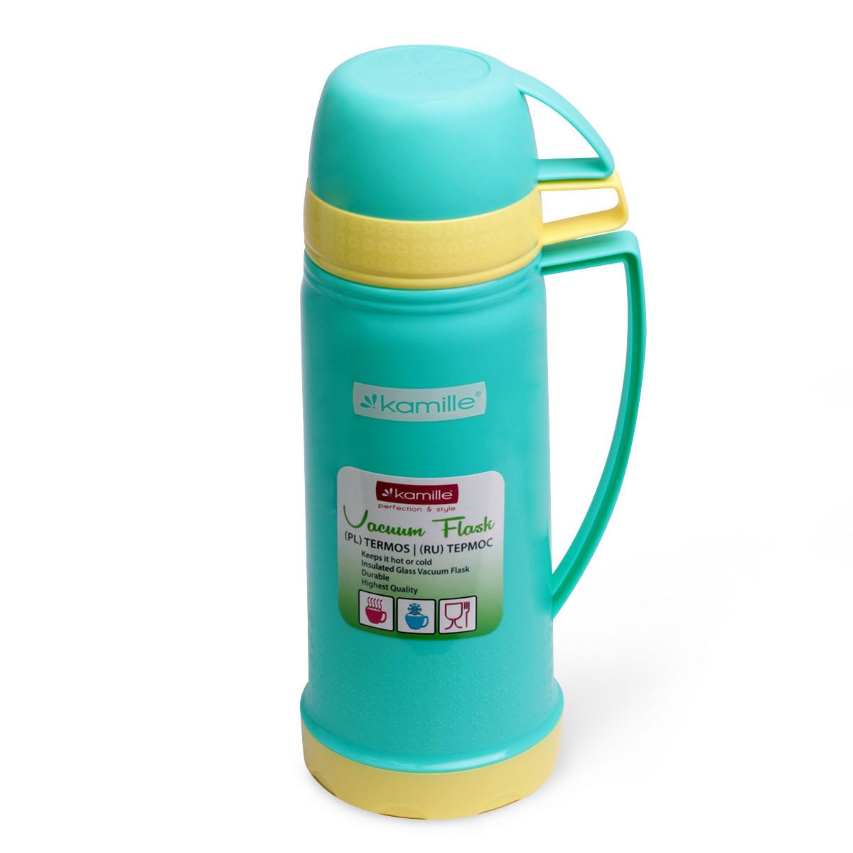 Термос 450мл пластиковый со стеклянной колбой (2 чашки; голубой, оранжевый, желтый)