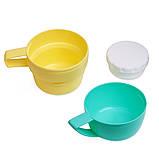 Термос 450мл пластиковый со стеклянной колбой (2 чашки; голубой, оранжевый, желтый), фото 2