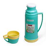 Термос 450мл пластиковый со стеклянной колбой (2 чашки; голубой, оранжевый, желтый), фото 3