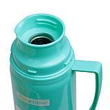 Термос 450мл пластиковый со стеклянной колбой (2 чашки; голубой, оранжевый, желтый), фото 5