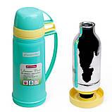 Термос 450мл пластиковый со стеклянной колбой (2 чашки; голубой, оранжевый, желтый), фото 7