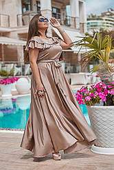 Платье  в пол БАТАЛ шелк в расцветках  3201179