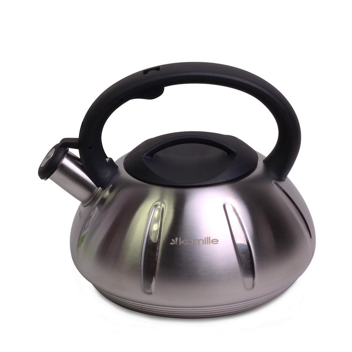 Чайник 3л из нержавеющей стали со свистком (черная ручка)