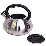 Чайник 3л из нержавеющей стали со свистком (черная ручка), фото 2