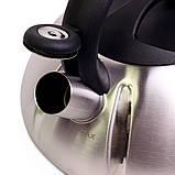 Чайник 3л из нержавеющей стали со свистком (черная ручка), фото 7