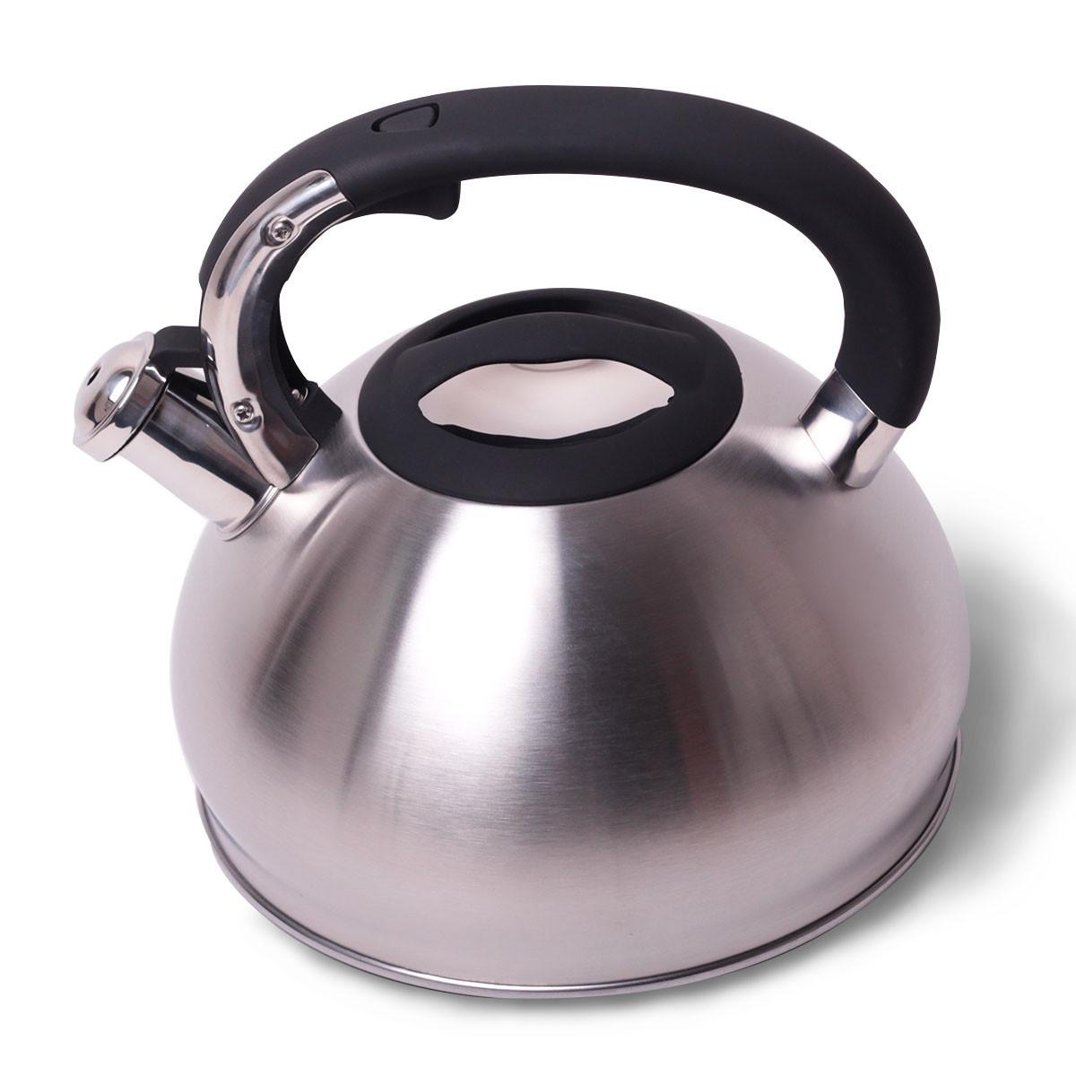 Чайник Kamille 3л из нержавеющей стали со свистком и черной бакелитовой ручкой