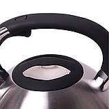 Чайник Kamille 3л из нержавеющей стали со свистком и черной бакелитовой ручкой, фото 2