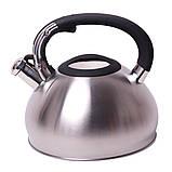 Чайник Kamille 3л из нержавеющей стали со свистком и черной бакелитовой ручкой, фото 3