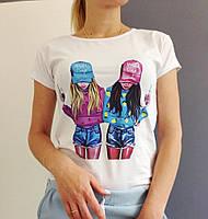 Женская футболка с принтом девушек
