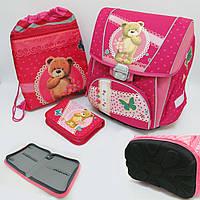 """Набор школьный - PREMIUM-C Набор: рюкзак-коробка + мешок для обуви + пенал плоский """"Мишка"""" для девочки"""