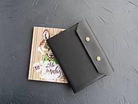 Кожаная обложка для блокнота черная, обложка на ежедневник из кожи
