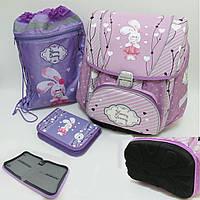 """Набор школьный -PREMIUM-A Набор: рюкзак-коробка+мешок для обуви+пенал плоский """"Зайчик"""" (""""  для девочки"""