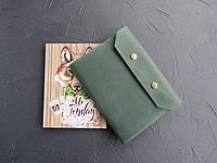 Кожаная обложка для блокнота зеленая, обложка на ежедневник из кожи
