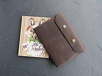 Кожаная обложка для блокнота темный шоколад, обложка на ежедневник из кожи
