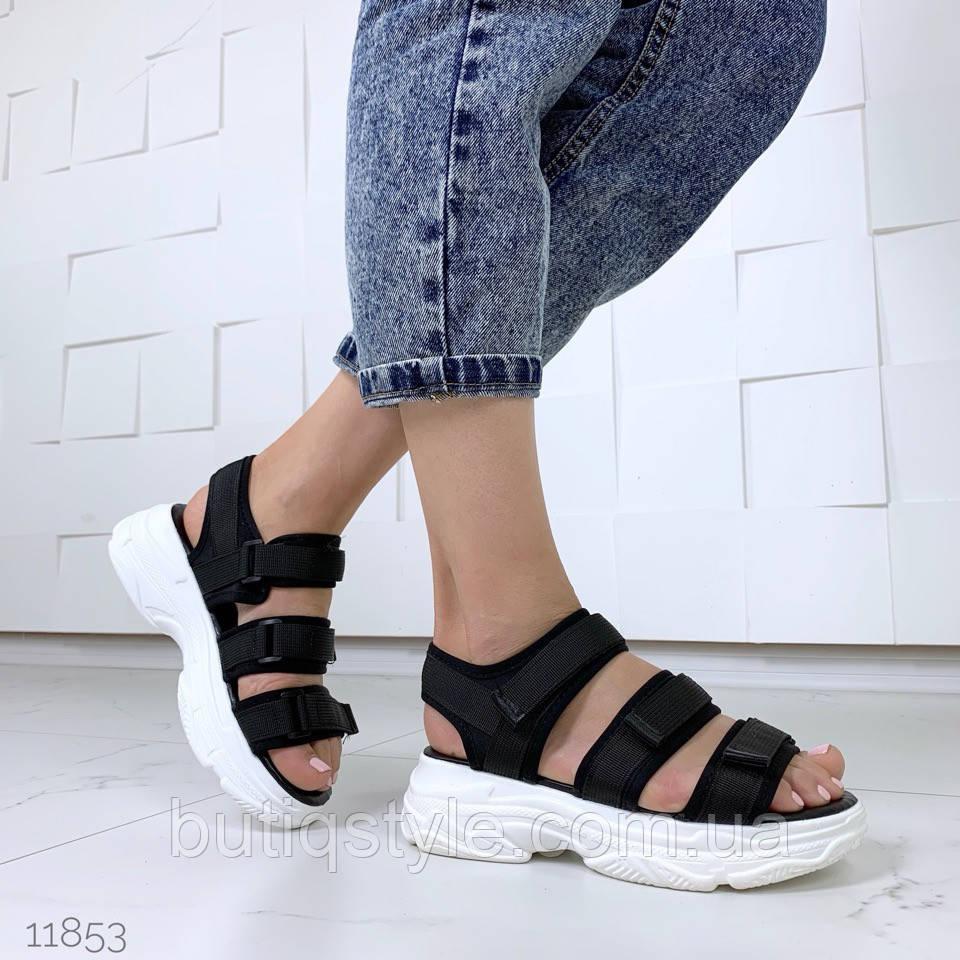 e34d7bf15 Женские черные спортивные босоножки на платформе эко-кожа+обувной текстиль  ...