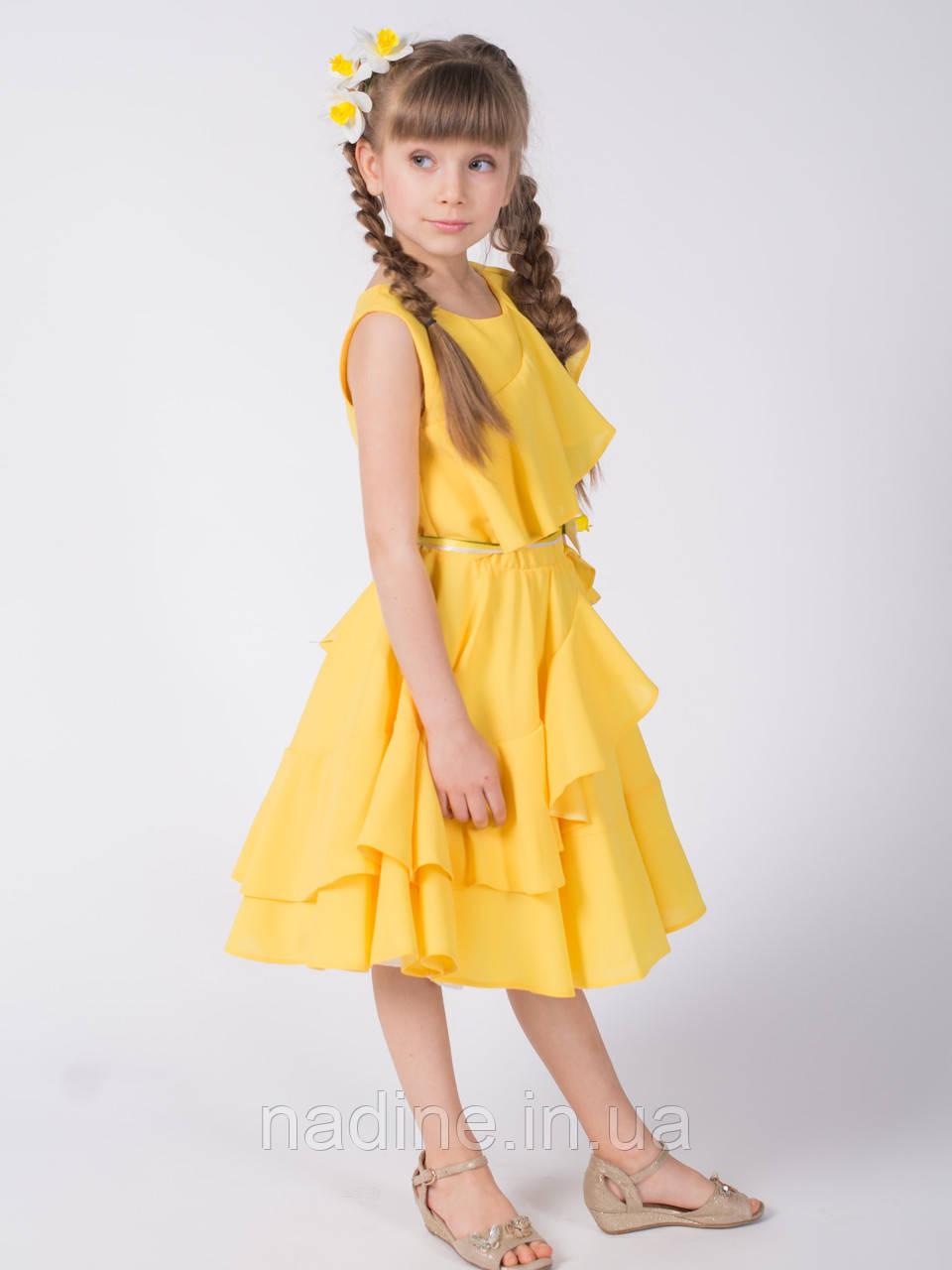 Платье Nadine на девочку, Yellow Narcissus рост 128. Жёлтое