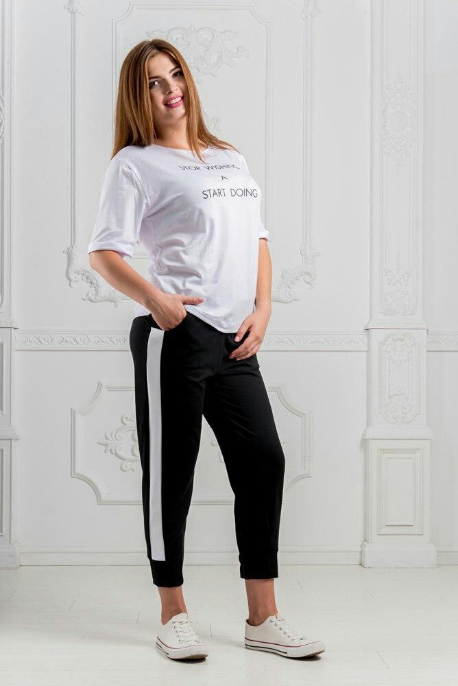 Спортивный костюм женский летний со штанами в полоску большие размеры