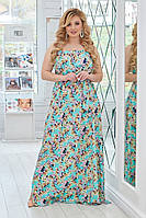 Женский летний сарафан с цветочным принтом №01259(р.50-54) ментол, фото 1