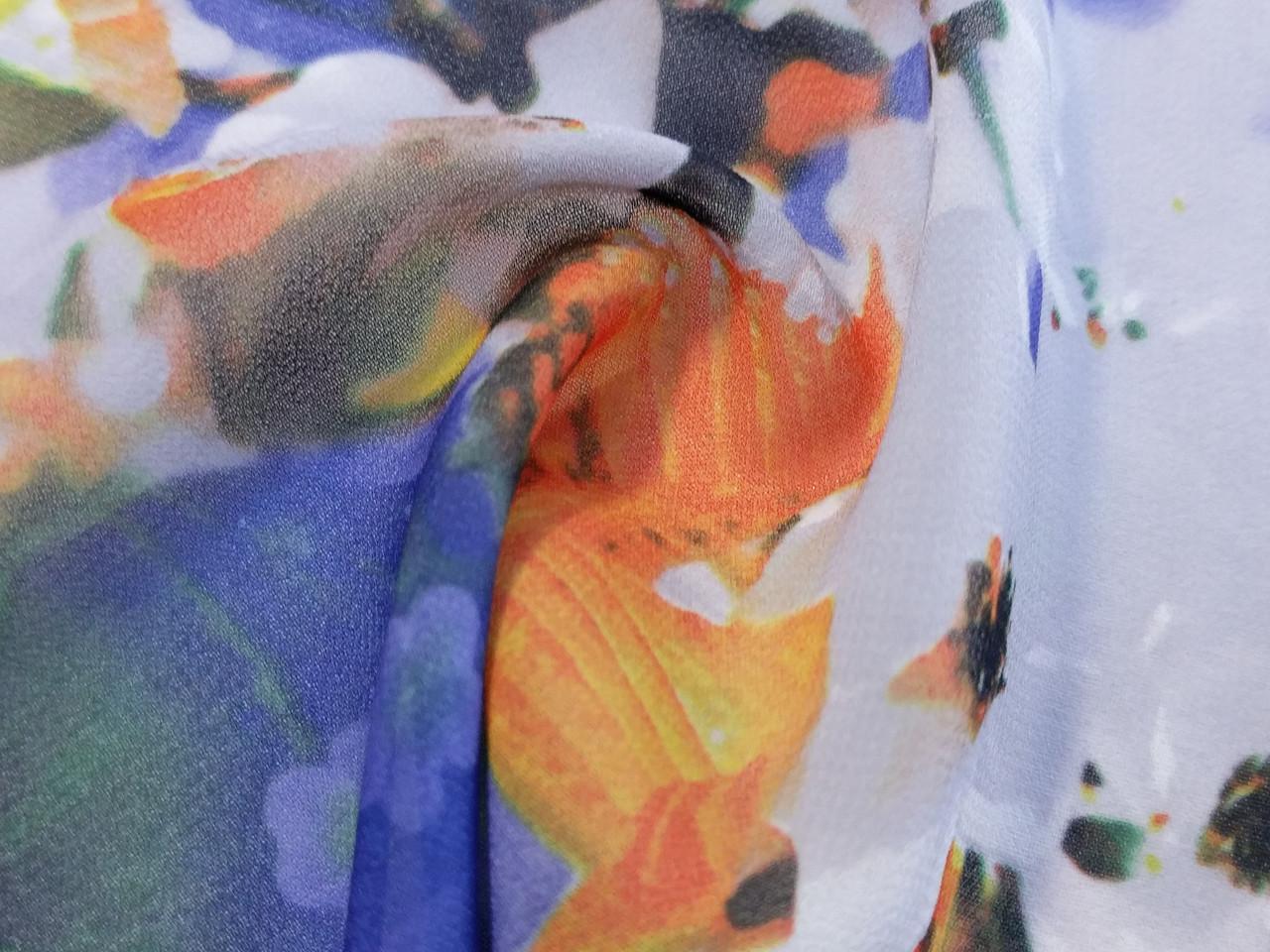 Шифон цветочный акварель, синий с оранжевым