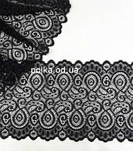 """Стрейчевое кружево""""арабеска"""",ширина 18см,цвет черный (Китай)"""