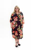 Стильное платье Алисия черный коралл/розы (64-70)
