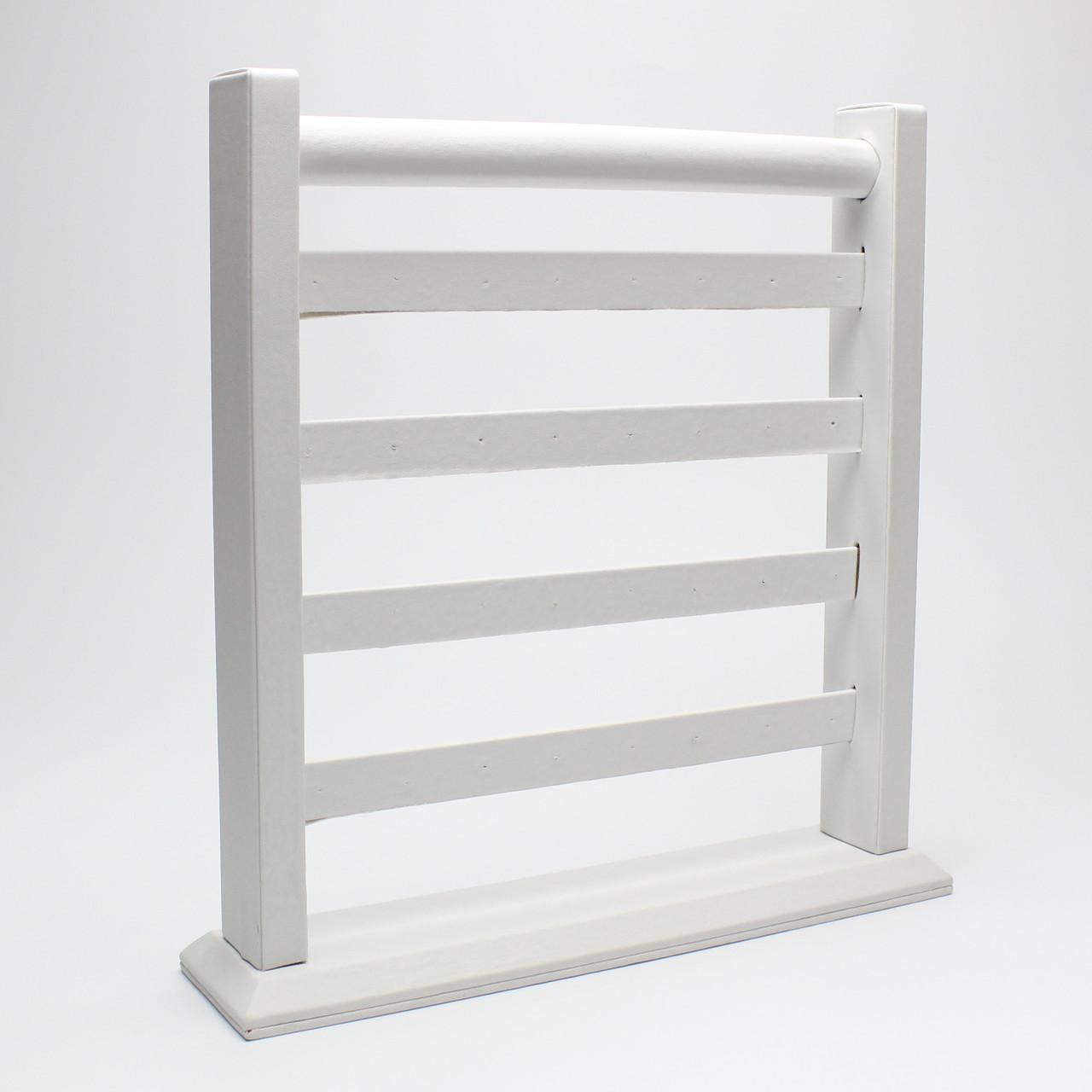 Подставка для серег белая экокожа