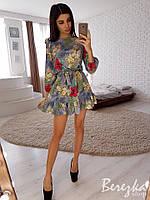 Стильное легкое летнее платье с крылышками и рюшей, рукав на резинке