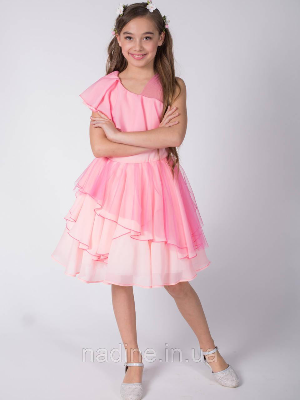 Дизайнерское шифоновое  платье Romantic Sakura Eirena Nadine (131-34) на рост 134 Нежно розовое