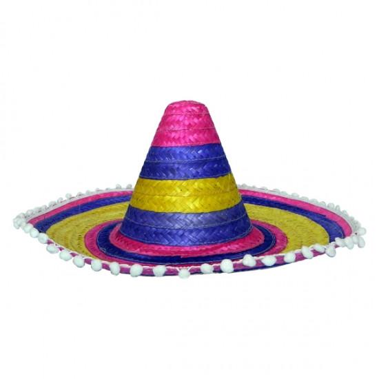 Шляпа Сомбреро 50 см цветная