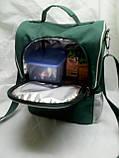 Ланч бокс Dolphin, термосумка - рюкзак для їжі, ланч бег, терморюкзак для обіду, сумка холодильник. Зелений, фото 2