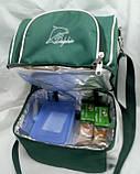 Ланч бокс Dolphin, термосумка - рюкзак для їжі, ланч бег, терморюкзак для обіду, сумка холодильник. Зелений, фото 3