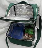 Ланч бокс Dolphin, термосумка - рюкзак для їжі, ланч бег, терморюкзак для обіду, сумка холодильник. Зелений, фото 4