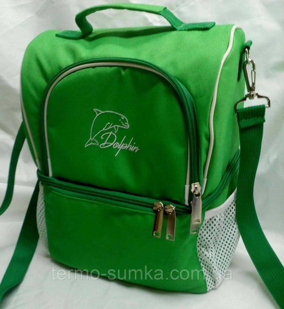 Ланч бокс, термосумка - рюкзак для еды, ланч бэг, терморюкзак для обеда, сумка холодильник. Салатовый