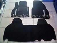 Ворсовые коврики в салон RENAULT Kangoo ll с 2008 г. (Черные)