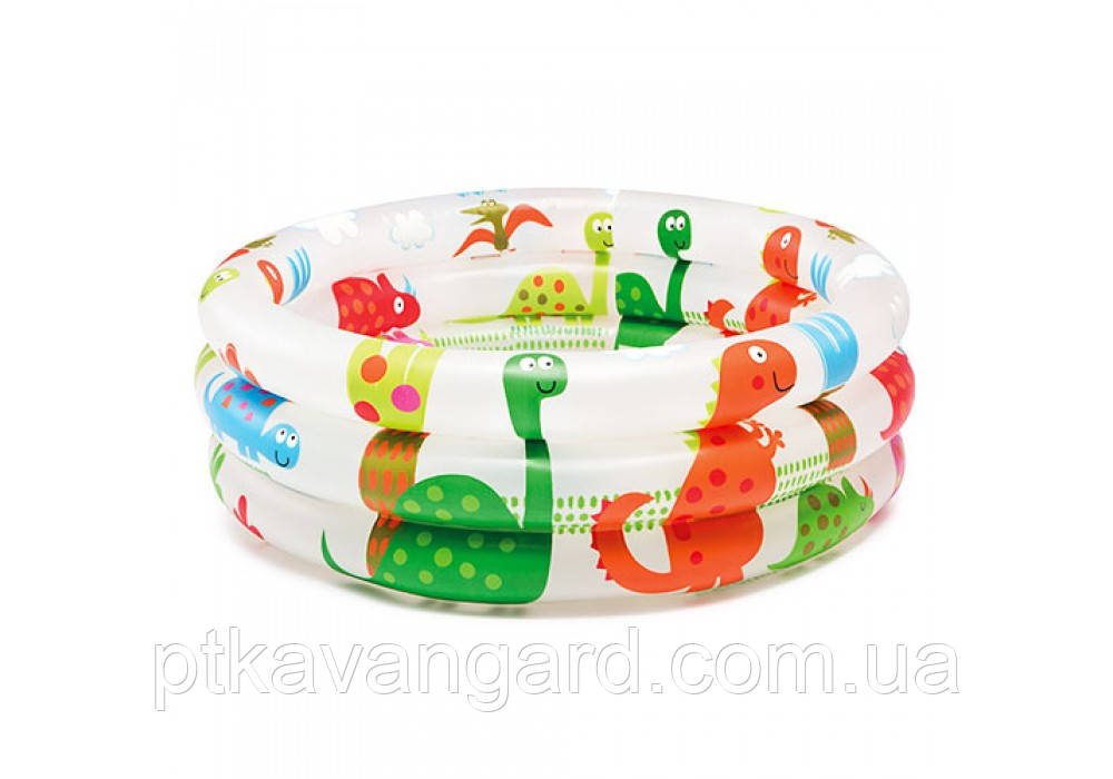 """Надувной детский бассейн """"Динозаврики"""" размером: 61х22см, объём: 33л, вес: 0,5кг, от 1 до 3 лет Intex 57106"""