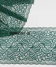 """Стрейчевое кружево""""весна"""",ширина 18см,цвет зеленый/изумрудный"""