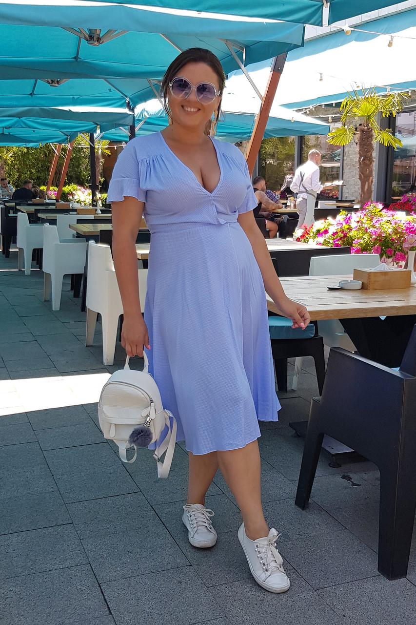 Летнее платье в горошек 04077