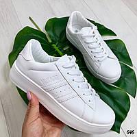 Кроссовки женские белые эко кожа  , фото 1