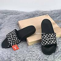 Шлепанцы, тапки женские, мужские - Supreme Louis Vuitton Black, фото 2