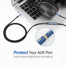 AUX 3.5mm удлинитель Ugreen AV118 аудио кабель 4-pin (Чёрный с синим, 2м), фото 2