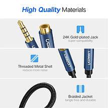 AUX 3.5mm удлинитель Ugreen AV118 аудио кабель 4-pin (Чёрный с синим, 2м), фото 3