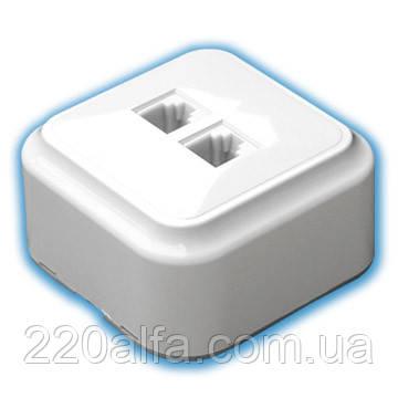 Розетка компьютерная двойная Bylectrica Пралеска (белая)