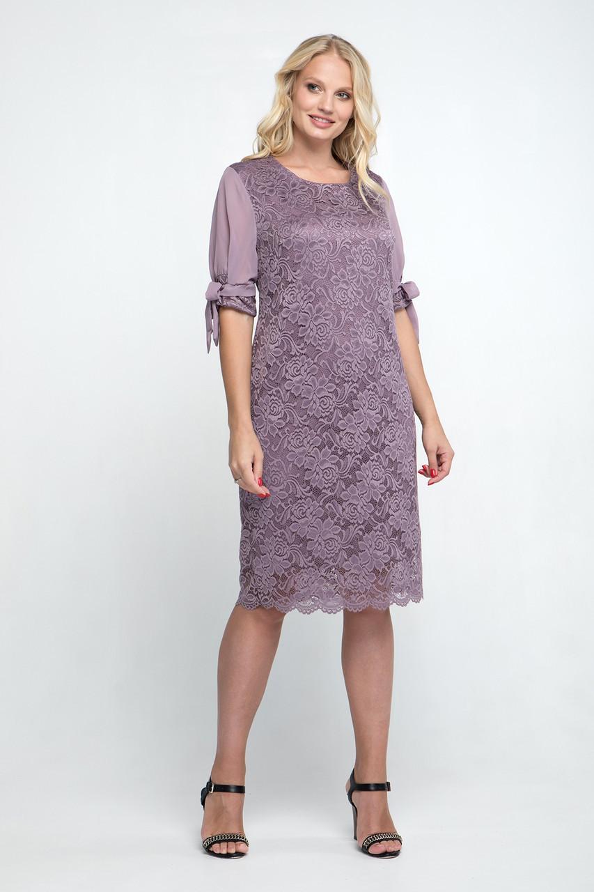 Нарядное платье из гипюра с шифоновым рукавом  с 50 по 58 размер