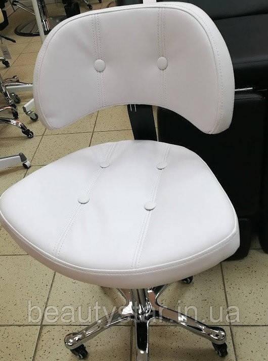Передвижной стульчик для мастера со спинкой СН-780 white