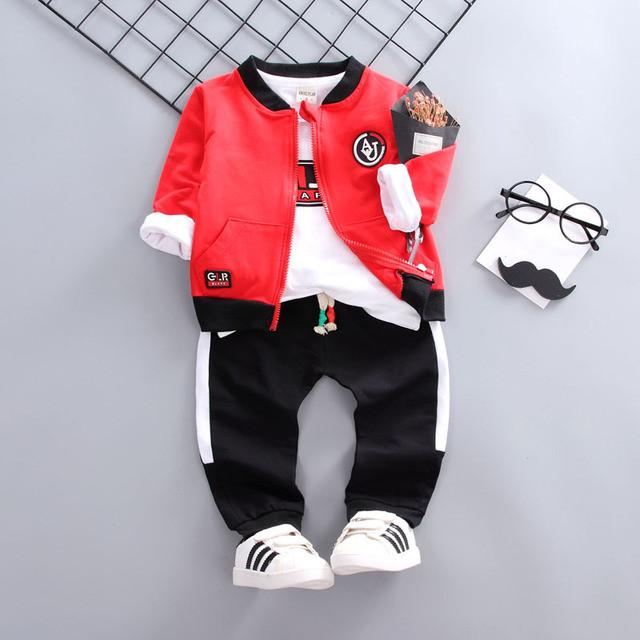Стильный спортивный костюм тройка на мальчика весна-осень 1 год  красно-черный