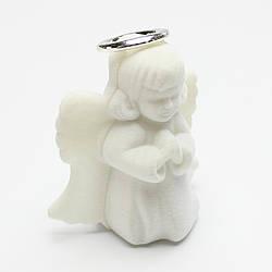 "Футляр бархатный под кольцо ""Ангелочек"" белый"
