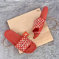 Шлепанцы, тапки женские, мужские - Supreme Louis Vuitton Red, фото 3